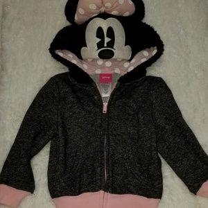 Minnie Mouse Girls Hoodie 2T Black/Pink